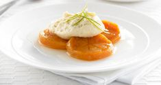 Lime Poached Persimmons with White Chocolate Mousse - Persimmons Australia