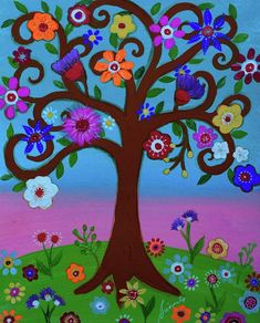 Cj's Tree of Life by Prisarts Tree Of Life Art, Greeting Cards, Tropical, Wall Art, Artwork, Painting, 3, Dibujo, Floral Paintings