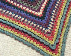 Crochet, Pram Blanket, Baby Blanket Granny Square, Afghan.
