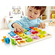 Hape Toys Alphabet Puzzle - Sturdy, stand-alone letters let kids practice their ABC's as well as form simple words. Toys For Girls, Kids Toys, Hape Toys, Children's Toys, Wooden Alphabet, Uppercase Alphabet, Alphabet Blocks, Baby Shop Online, Alphabet For Kids