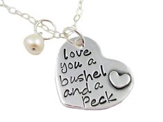 Bushel and a Peck Sterling Silver Heart Necklace