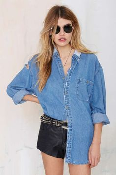 After Party Vintage Edgefield Shirt - Shirts + Blouses | After Party | Tops | Americana | Fall Of The Wild | Tops | Nasty Gal Denim | Clothes | All | All Denim