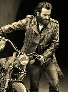 Old biker with a great jacket