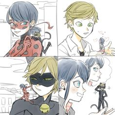 Ladybug and Chat Noir/ Marinette and Adrien, miniature versions of each other (Miraculous Ladybug)