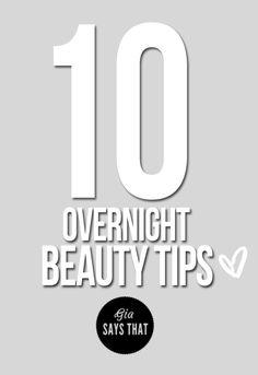 overnight beauty tips, skincare, haircare, makeup, healthy, diy