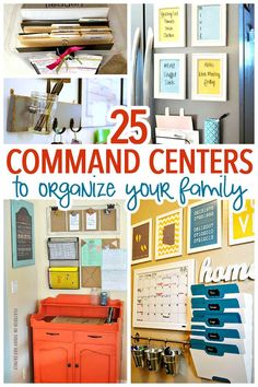 Get organized with a family command center! So many awesome ideas here for any space or budget - plus great tips on how to create your own family command center. Home Organizing   Command Centers   Family Organization   Organizing Ideas