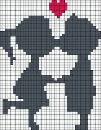 Kiss love perler bead pattern, I wouldn't have their faces touching, looks weird, maybe 1 square for noses and shorten other lines häkeln motive vorlagen kostenlos häkeln motive vorlagen kostenlos Fair Isle Knitting Patterns, Fair Isle Pattern, Afghan Crochet Patterns, Knitting Charts, Crochet Chart, C2c Crochet, Beading Patterns, Embroidery Patterns, Pearl Beads Pattern