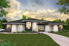 A Prairie-style hipped roof and a mix of materials adorn the facade of this 3-bed one-story house plan.A roomy foyer offers quick and easy access to the kitchen by way of a pocket door, controlling how connected you want the main entrance to feel.Head straight and find yourself in the open dining and great room, which features a fireplace, vaulted ceilings, and access to the covered patio.To the left of the great room, you'll find the garage access, utility room, a full bath, and the… Prairie House, Prairie Style Houses, Modern Prairie Home, Prairie Style Architecture, House Plans One Story, Ranch House Plans, Story House, Contemporary House Plans, Modern House Design