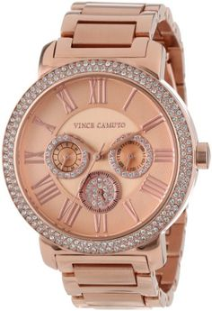 Vince Camuto Women%27s VC%2F5000RGRG Swarovski Crystal Accented Rose Gold-Tone Multi-Function Bracelet Watch