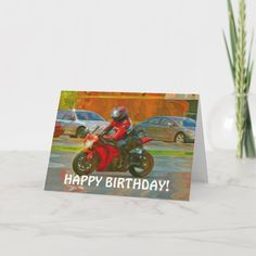 2 PERSONALISED MOTORBIKE BIRTHDAY BANNERS ANY AGE ANY NAME RED