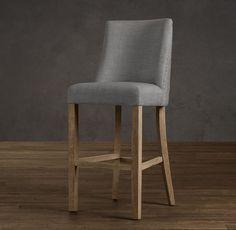 1940s French Upholstered Barrelback Barstool | Bar & Counter Stools | Restoration Hardware
