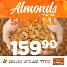 Remember to swing by your nearest Montagu store and stock up on premium CSSR almonds, now retailing for for Nutritious Snacks, Yummy Snacks, Almonds, Healthy Lifestyle, Finding Yourself, Africa, Tasty, Lovers, Fruit