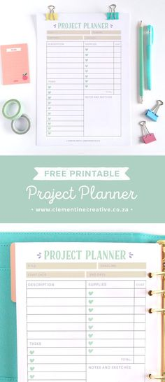 Free Printable Project Planner.  It comes in three sizes: US Letter, A4 and A5. Clementine Creative