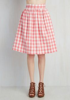 Garden Gallery Skirt by ModCloth - Pink, Checkered / Gingham, Print, Casual, Vintage Inspired, 50s, Spring, Colorsplash, Valentine's, Mid-length, Nautical, White, Exclusives, A-line