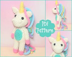 PDF  Mini Unicorn Crochet Pattern Unicorn Amigurumi