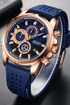 New Men's Fashion Chronograph Blue Silicone Strap Watch For Sale on BringWish Trendy Mens Watches, Mens Watches For Sale, Best Watches For Men, Luxury Watches For Men, Cool Watches, Rolex Watches, Ladies Watches, Watch For Men, Black Watches