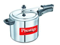 Prestige PRNPC5 Nakshatra Plus 5Liter Flat Base Aluminum Pressure Cooker for Gas and Induction Stove Medium Silver *** Check out this great image @