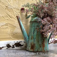 Lovely Metal Effects on Water Can | Garden Patina | Project by Artistic Home Studio