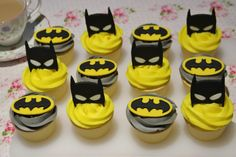 Batman mask and logo cupcake topper set