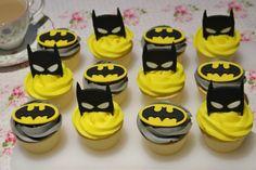Batman mask and logo cupcake topper set