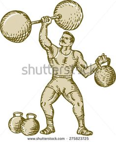 Etching engraving handmade style illustration of a strongman circus performer lifting barbell on one hand and kettlebell on the other hand set on isolated white background. - stock vector