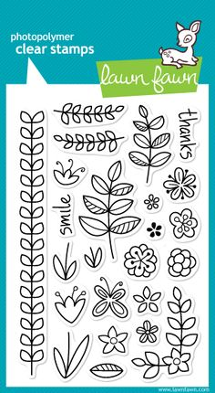 LAWN FAWN Clear Stamps - BLISSFUL BOTANICALS, 4x6