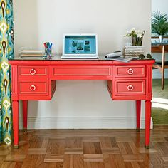 painted vintage desk with ring pull details