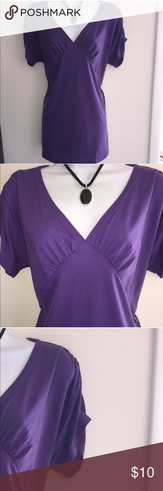 NWT purple tee top with gathered sleeves. Firm unless bundled. Thank you for understanding.  Victoria Tops Tees - Short Sleeve