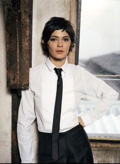 audrey tautou in a tie. Audrey Tautou, Gamine Style, Hair Reference, French Actress, Pixie Haircut, Looks Style, Mode Style, Beautiful Actresses, Short Hair Cuts