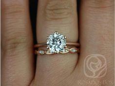 Rosados Box Skinny Webster 7.5mm & Ember Rose Gold Round FB Moissanite Six-Prong Webbed Wedding Set