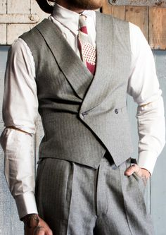 Men's Vintage Style Suits, Classic Suits The Savoy 1930s Waistcoat - Grey Herringbone £125.00 AT vintagedancer.com