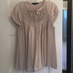 "BCBG embroidered top Size tag is gone, but I remember this to be a medium. 16"" wide at bust, 27"" long, 77% rayon, 23% nylon. BCBGMaxAzria Tops Blouses"