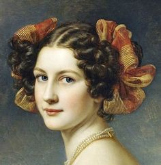"gailcarriger: ""antique-royals: ""Joseph Karl Stieler ,Schloss Nymphenburg (Castle), Schonheitengalerie (Gallery Of Beauties)(details). "" Hairstyles similar to those the girls where in the Finishing School series. Classic Paintings, Old Paintings, Beautiful Paintings, Female Portrait, Portrait Art, Female Art, Victorian Hairstyles, Vintage Hairstyles, Historical Hairstyles"
