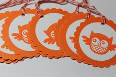 8 cute orange and white owl tags by ThePaperOwl13 on Etsy, $5.00