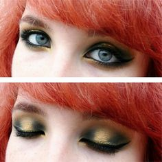 Autumn inspired makeup. Dark green halo smokey eye with a pop of gold.