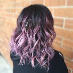 Lilac purple black shoulder length hair color, wavy hairstyle