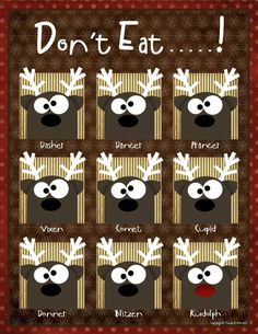 "Don't Eat Game...place candy on each reindeer. Send a player out of earshot and choose a reindeer. Player comes back and gets to eat the candy from every reindeer they choose until they pick the one the group singled out. Then everyone shouts ""don't eat..."" and their turn is over."