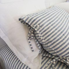 Blue Stripes Linen Pillowcases | Oeko-Tex® certified French Bed, Striped Linen, Pillowcases, Linen Bedding, Blue Stripes, Bedrooms, Pure Products, Interior, Handmade