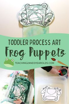 This toddler frog craft involves two steps: mixing colors with golf balls and squeezing watercolors. The end result is a puppet that can be used as a prop during circle time. Free frog printable included! #toddler #art #finemotor #puppet #circletime #spring #frogs #toddlerart #watercolors #printable #AGE2 #teaching2and3yearolds
