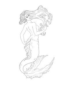 mermaid line drawing art nouveau mermaid step by step illustration