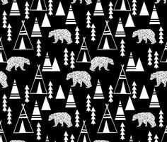 Teepee Forest - Black and White by Andrea Lauren fabric by andrea_lauren on Spoonflower - custom fabric