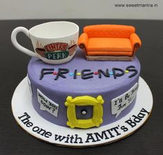 FRIENDS tv show theme customized designer fondant cake with 3d couch coffee cup by Sweet Mantra - Customized 3D cakes Designer Wedding/Engagement cakes in Pune - http://cakesdecor.com/cakes/277991-friends-tv-show-theme-customized-designer-fondant-cake-with-3d-couch-coffee-cup