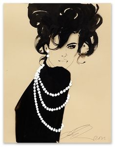 Fashion Illustration. Dramatic black on colour