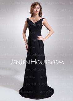 Bridesmaid Dresses - $105.99 - Empire V-neck Sweep Train Chiffon Bridesmaid Dresses With Ruffle (007001851) http://jenjenhouse.com/Empire-V-neck-Sweep-Train-Chiffon-Bridesmaid-Dresses-With-Ruffle-007001851-g1851