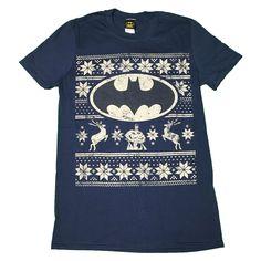 DC Comics Batman Fair Isle Christmas T Shirt in blue