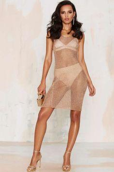 Glamorous Fortune Favors Metallic Knit Dress