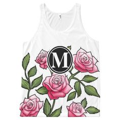 Rose Floral Illustration and Monogram All-Over Print Tank Top Tank Tops