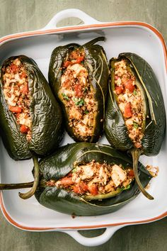 Chicken Stuffed Poblano Peppers with Cheese Sauteed Peppers, Stuffed Poblano Peppers, Entree Recipes, Mexican Food Recipes, Dinner Recipes, Bean Chips, Mexican Side Dishes, Green Enchilada Sauce, Healthy Weeknight Meals