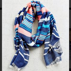 Cooperative Stripe Scarf Cooperative stripe fringe end scarf made with 62% Acrylic and 38% Cotton. Can be worn in many different ways this is new with tag and sold out Online Urban Outfitters Accessories Scarves & Wraps