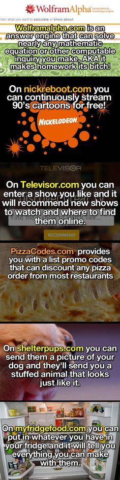 Just a few helpful websites... This is great, will definitely use the cooking and tv recommendation ones!